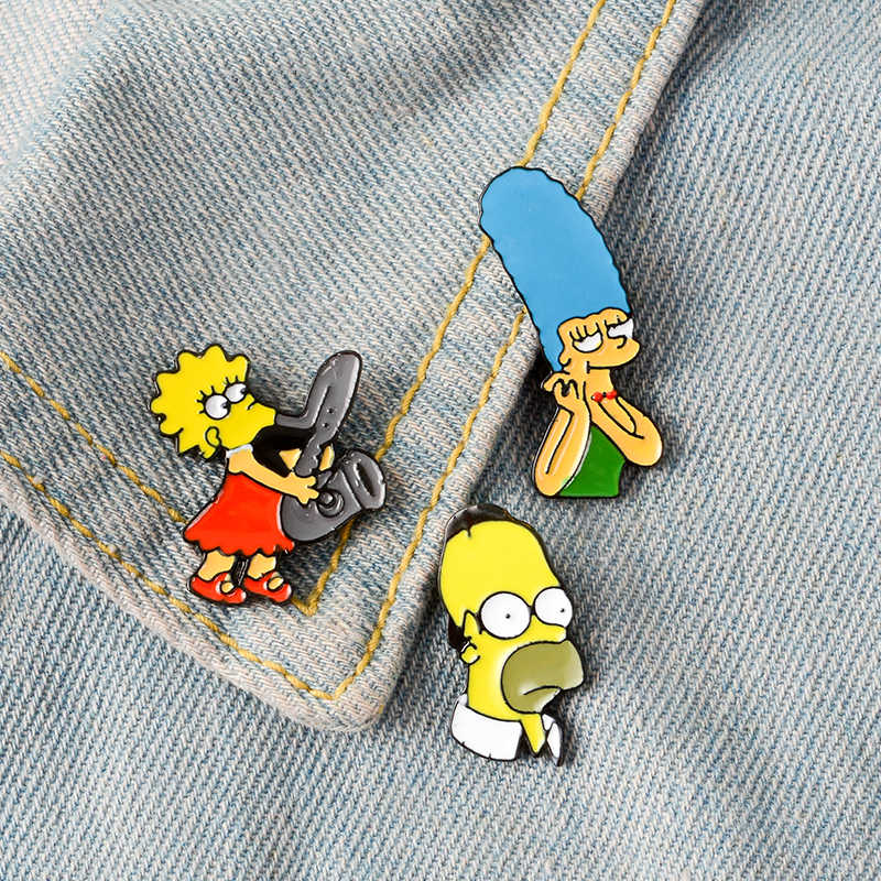 THE SIMPSONS Pins 90 S Acara TV Kartun Bros Lisa Marge Homer Simpson Kerah Pin Denim Jaket Aksesoris Ransel