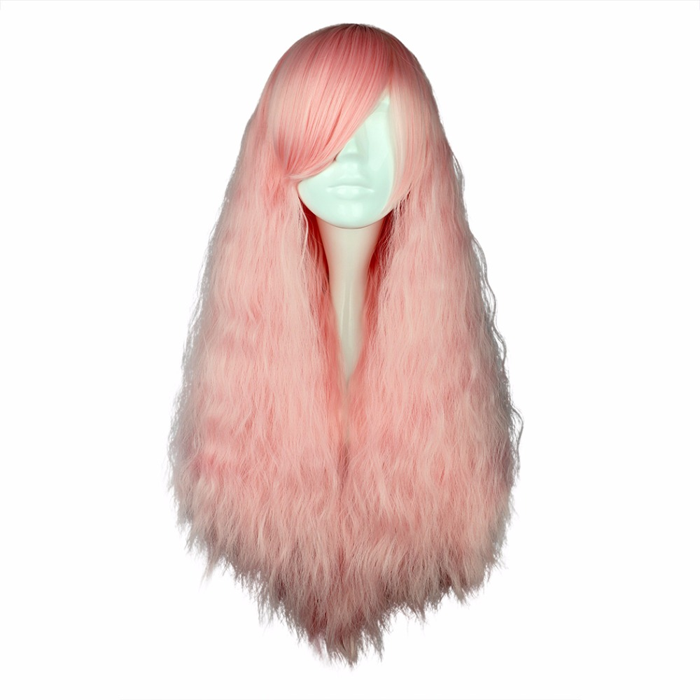 MCOSER 70cm Synthetic Long Curly hair Pink Color Party 100% High Temperature Fiber Cosplay Wig WIG-433A