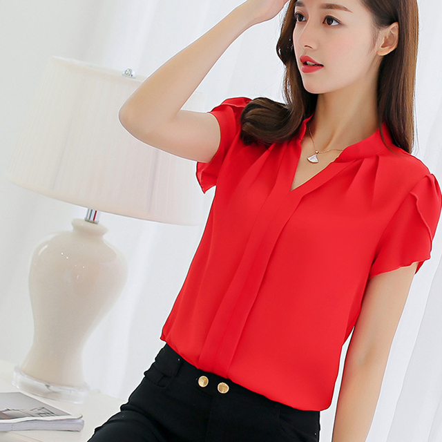 Summer  Chiffon Blouse Short Sleeve Red  Office  Shirts Plus Size Work Top Plus Size Casul  Clothing