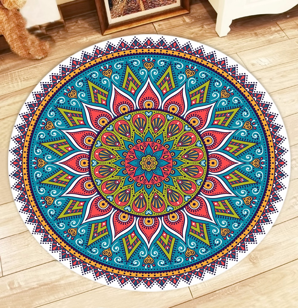 New Mandala Flowers Moroccan Design Round Floor Mat Living
