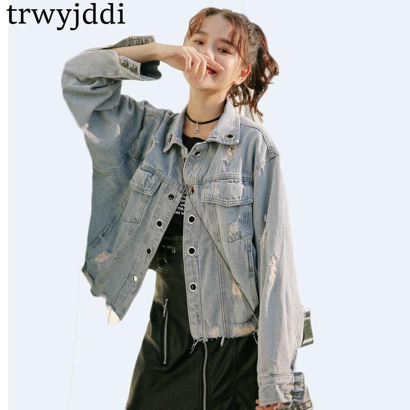New Spring Women Denim Jacket 2018 Harajuku Bf Wind Jeans Jacket Loose Long Sleeve Female Coats Large Size Female Cardigan hl171