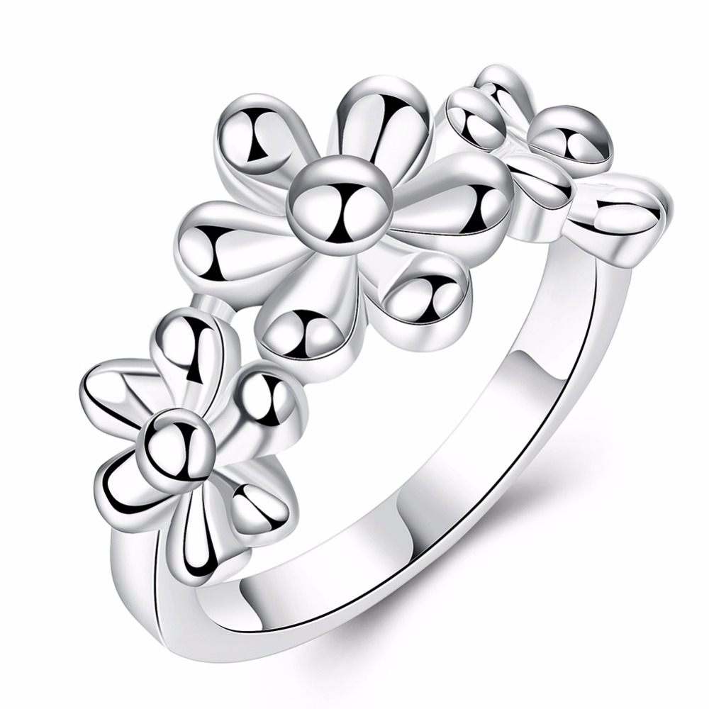 Europe and the United States popular selling personality silver flower ladies ring cockt ...