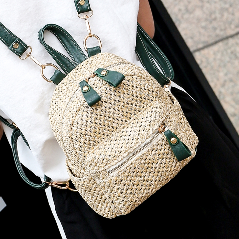Girls Fashion Weave 101406 Hollow Beach Bag Women Casual Summer Straw Mini Backpack