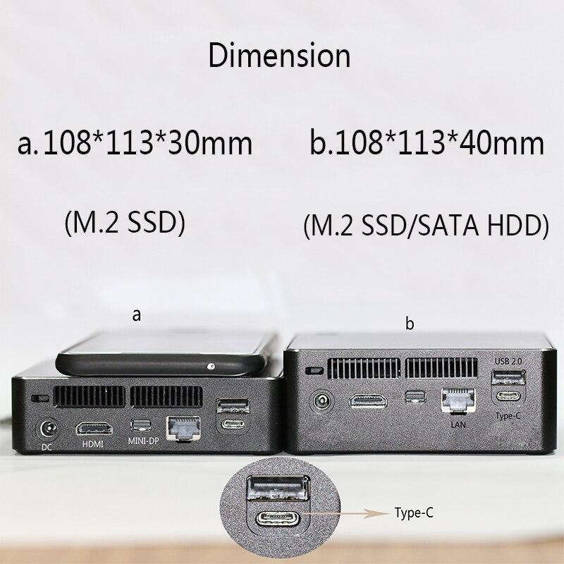 Intel Core I7 7500U Mini PC Windows 10 4G RAM 64G SSD 500G HDD TV Box