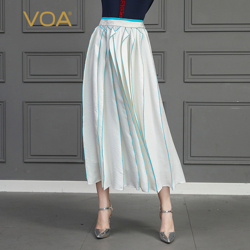 1b3c511d4a VOA 100% Silk Pleated Skirts Women A Line Long Skirt White Casual Large Size  harajuku. US $161.00. Women Elegant Elastic High Waist ...
