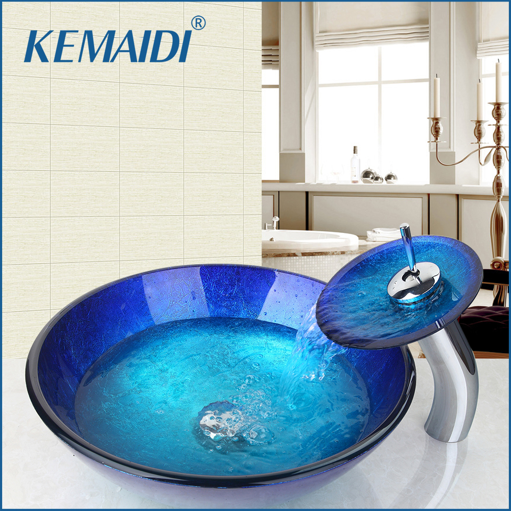 KEMAIDI US Stock Tempered Glass Hand Painted Waterfall Spout Basin Tap Bathroom Sink Washbasin Bath Brass Set Faucet Mixer Taps kemaidi us waterfall spout basin tap bathroom sink washbasin tempered glass hand painted 4094 1bath brass set faucet mixer taps