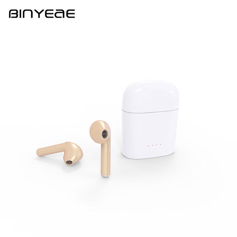 BINYEAE TWS True Wireless Bluetooth Headset Dual Ear Sport Earbuds Binaural Bluetooth Headset with Mic for iphone 7 ihpone 7s