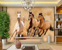 Custom High quality cloth mural flash / 3d photo wall paper perspective galloping horse Nature wall painting wallpaper galloping стоимость