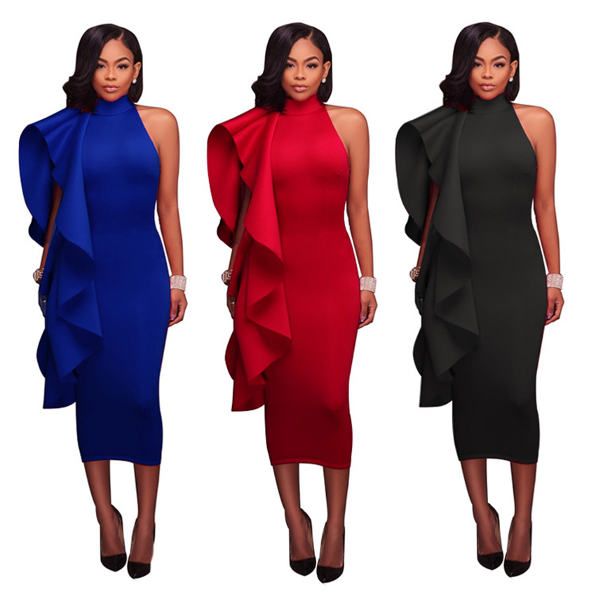 FANIECES Women Bodycon Dress Ruffled Sexy Hot Party Night Evening ClubWear Clothes Summer 2019 Fashion dress Robe Femme vestidos in Dresses from Women 39 s Clothing