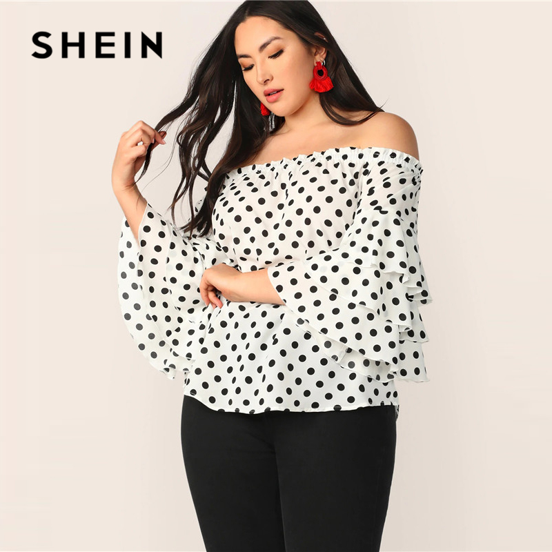 SHEIN Plus Size White Polka-Dot Layered Sleeve Off Shoulder Top   Blouse   2019 Women Spring Summer Boho Ruffle Sleeve   Blouses     Shirt