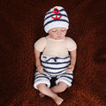 Baby Sailor Hat and Pants Set Newborn Photography Props White and Navy Blue Stripe Handmade Anchor Costume H259
