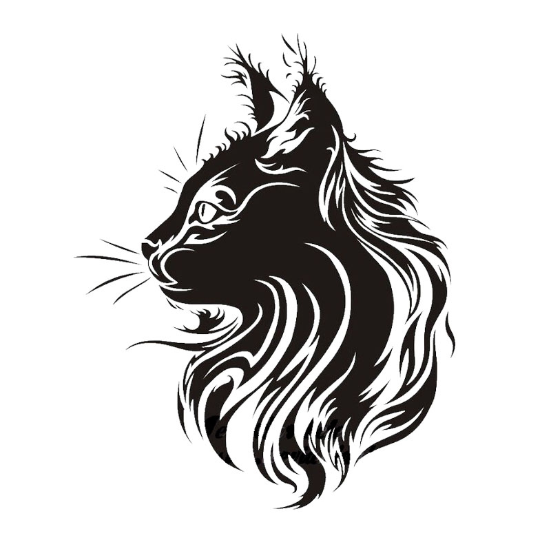 17*21CM Creative Pet Cat  Car Sticker Vinyl Fation Personality Animal Car Styling  Stickers Black/Silver S1-0090 hot sale 1pc longhorn hilux 900mm graphic vinyl sticker for toyota hilux decals badges detailing sticker car styling accessories