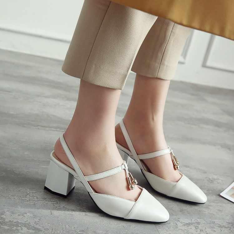 Große Größe 11 12 13 14 15 damen high heels frauen schuhe frau pumpen One-wort schnalle-kopf einzelnen schuh