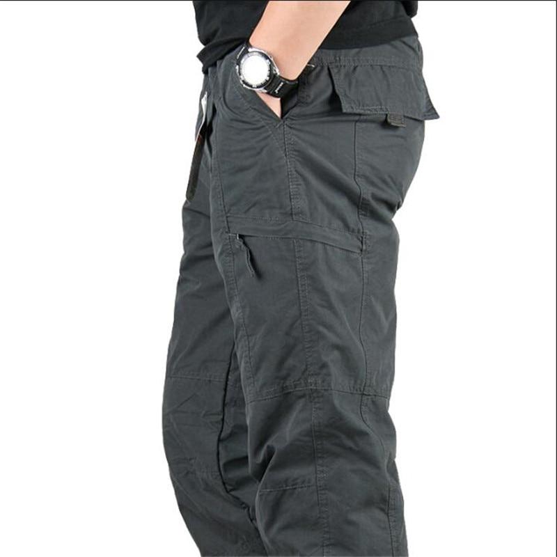 Men's Cargo Pants 2019 Winter Casual Warm Thicken Fleece Pants Men Cotton Multi Pockets Combat Military Baggy Tactical Pants 23
