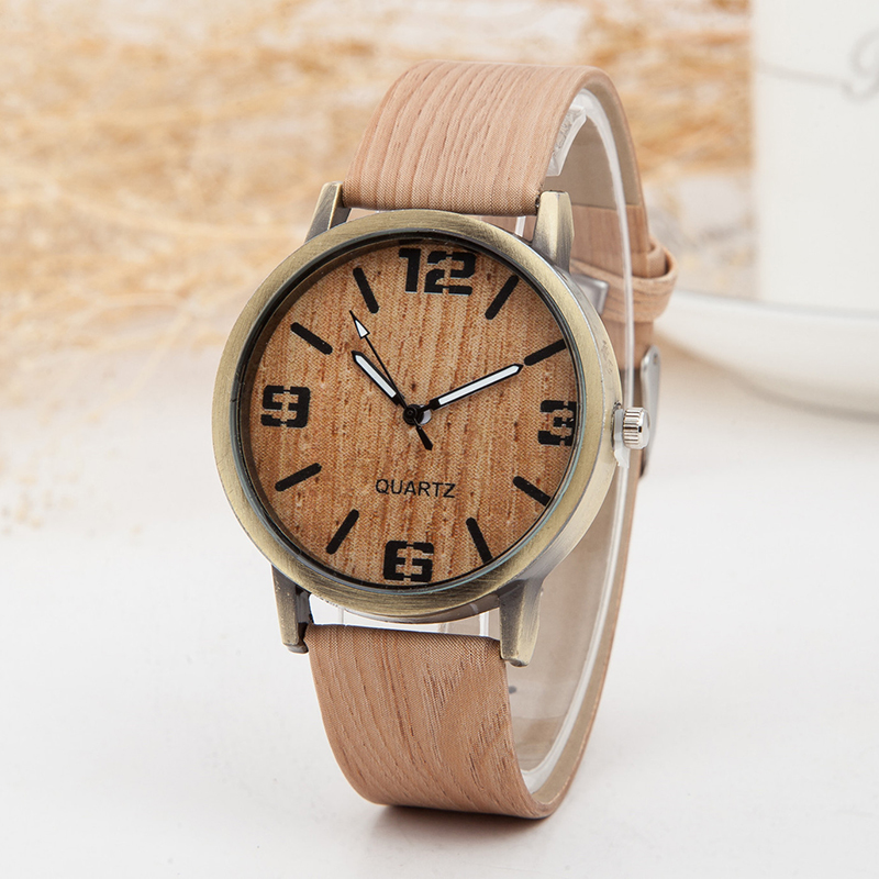 2018 Ladies Wrist Watch Women Low price Vintage Wood Grain Watches for Women Fashion Quartz Watch Leather Unisex Casual Clock new lvpai vintage women fashion quartz watch faux leather men dress watch unisex casual wristwatches wood grain watches clock