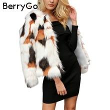 568c8743b10 BerryGo Fluffy faux fur coat women Warm long sleeve 2017 female outerwear  Elegant autumn winter coat jacket white hairy overcoat