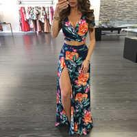 2019 Elegant Women Summer Long Skirt Set Bohemian Style Sexy Hollow Out Crop Top Skirts Floral Print V-Neck Women Beach Dress