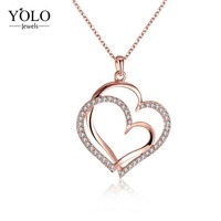 Charm Pendants Necklaces For Women Heart Shape Trendy Jewelry with Snack Chain Gold/sliver/rose Gold 3 Color to Choose Love Gift