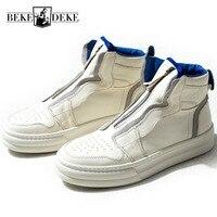 Лидирующий бренд; обувь на платформе с высоким берцем на молнии; мужские белые кроссовки из натуральной кожи в стиле хип хоп; повседневные м
