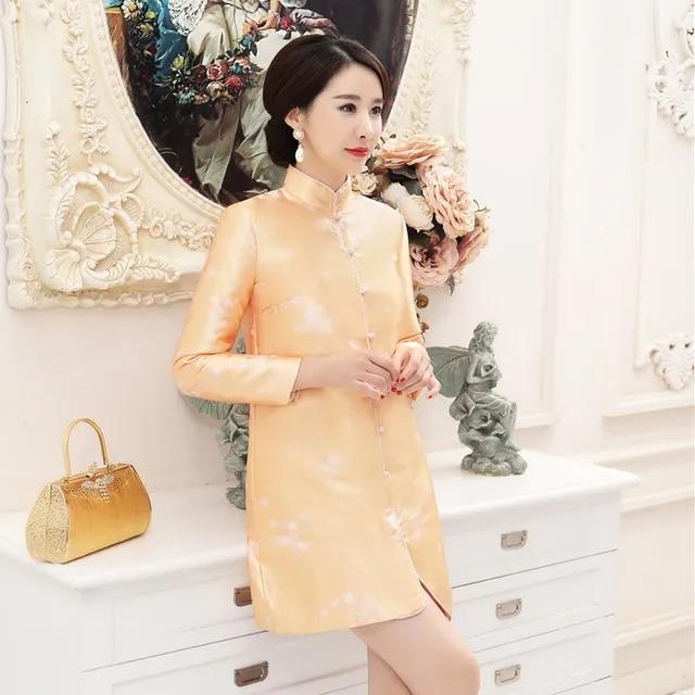 Qipao silk jacquard padded quilted elegant silk satin cheongsam chinese traditional dress vestido long sleeve lady dress