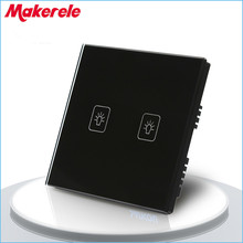 цена на UK Standard Remote Touch Switch Black Crystal Glass Panel 2 Gang 1 way Remote Control Wall Switch with LED Indicator