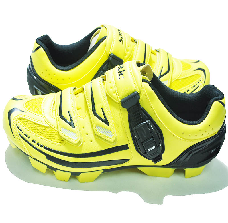 last brand Self Locking Cycling Shoes Men Bike Shoes Breathable Mountain Bicycle Yellow PU Sport Shoes