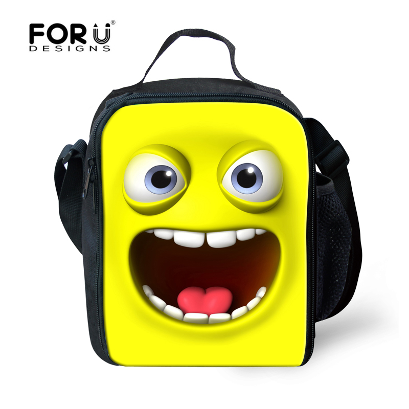 Trendy Large Insulated Lunch Picnic Bag For Children Cartoon Smiling Face Lunchbags Kids Cute Thermal Lunch Box Bolsa Ter mica