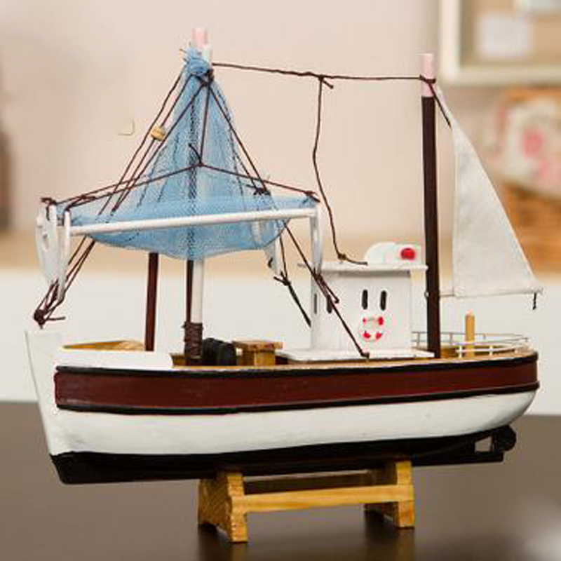 Model Building Kits Solid Wooden Crafts Home Furnishing Articles Mediterranean Style Fishing Boats Sailing Models Good Quality
