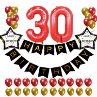37pcs Lot 21 18 30 50 60years Old Birthday Balloons Party Decoration Black Banner 1 2g