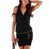 Women Clothes Women Sexy Deep V Neck Sleeveless Mini Dress Summer Beach Dress With Belt