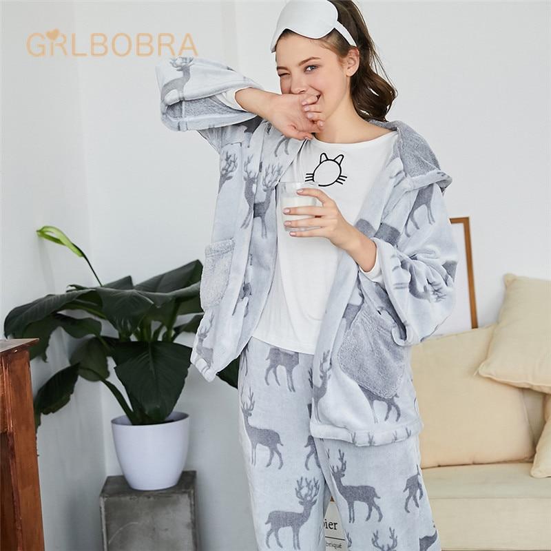 Womens Sleepwear Set Cute Deer Pattern Long Sleeve Hooded Sweet Comfy Home Suit Pajamas