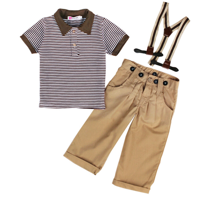 2-5 Years True Quality Short-sleeve Stripes Polos T-shirt + Long Pants with Suspenders Cool Children Kids Boy Clothes Set MA06TZ