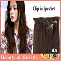 2014 New Clip Synthetic Hair Extensions Kanekalon High Temperature Synthetic Clip ins 7pcs 100g 1set 18 20 22 24 inch #4 Brown