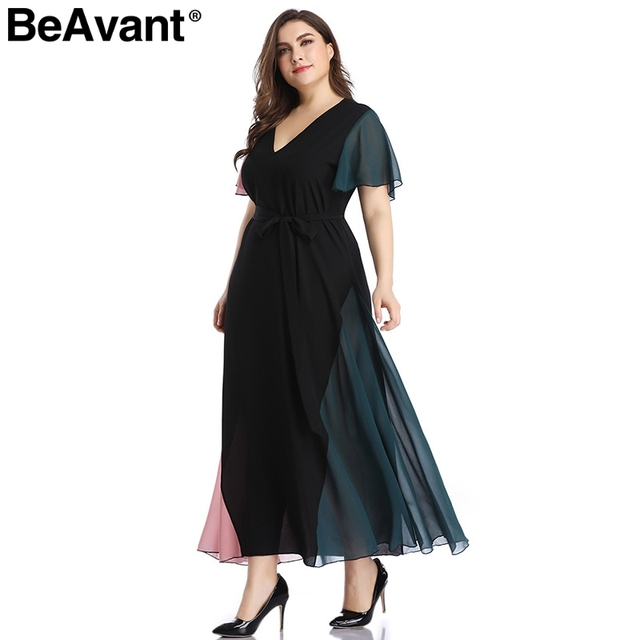 BeAvant Elegant v neck plus size dress women Black butterfly sleeve summer female maxi dress Casual party club ladies dresses 2