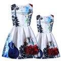 2016 лето семья clothing Европейский стиль Костюмы семья платья мода цветочный печати дочь платья и мама платья