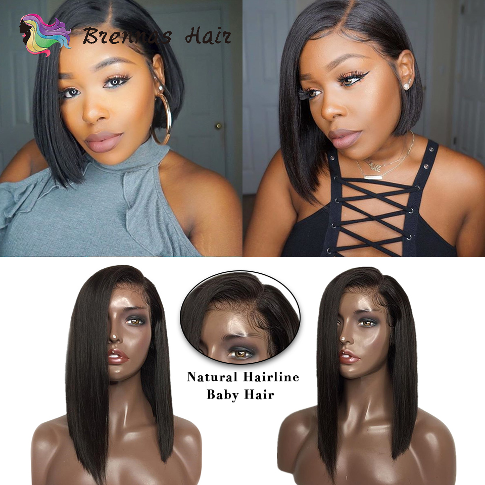 Hot Sell 100 Brazilian human hair Straight short bob lace front wig bleached knots with baby