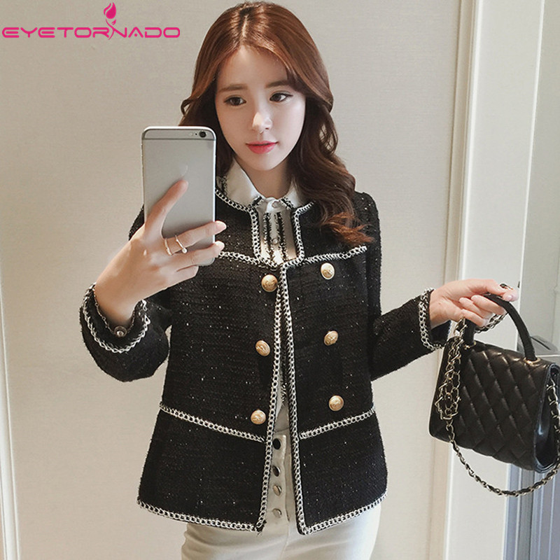 Women chains patchwork double breasted tweed jacket autumn short casual basic black work office wool coats
