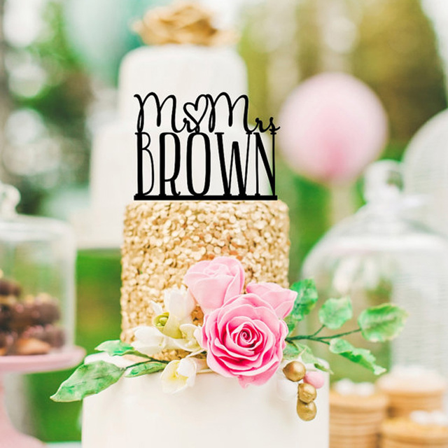 Customized Acrylic silver wooden wedding cake topper Mr & Mrs ...