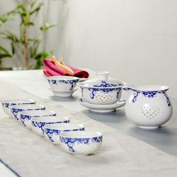 Exquisite Tea Set Bone China,Kung fu tea set for green balck pu' er tea,Travel Ceramic Tea Set,1 teapot & 6 cups B013