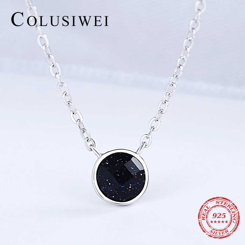 Colusiwei Pure 925 Sterling Silver Galaxy Nutural Agate Round Shape Chain Choker Necklace for Women Luxury Statement Jewelry