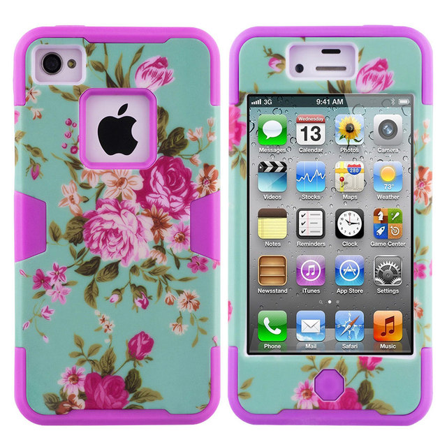 Iqd For Iphone4 4s Case Hybrid Armor Chic Peony Flower High Impact Cover Iphone 4