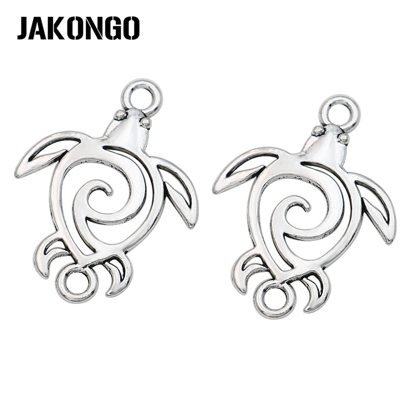 JAKONGO Antique Silver Plated Hollow Tortoise Connectors For Making Bracelet Handmade DIY Jewelry Accessories 37mm*28mm 5pcs