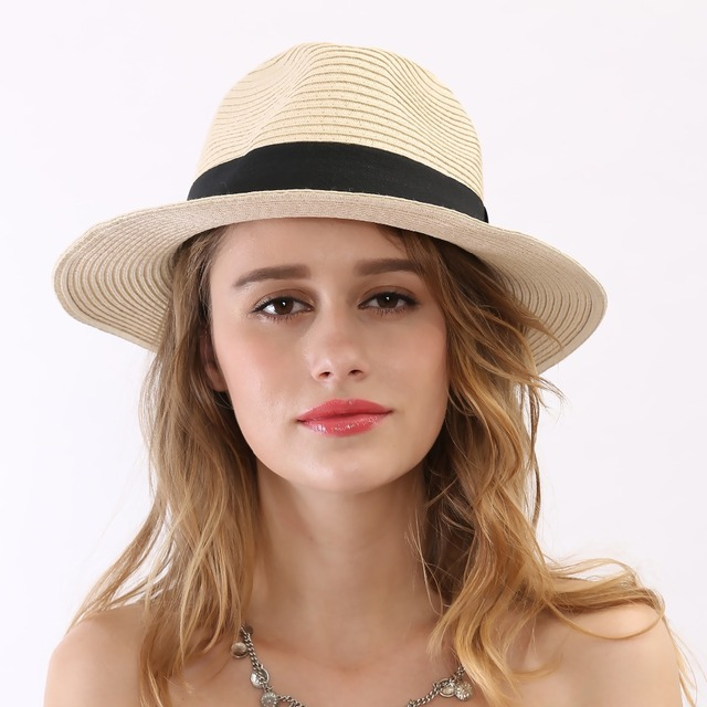 2016 Summer Style New Black Ribbon Mens Sun Cheapeu Fedora Hat Beige Women Wide Brim Floppy Sombreros Panama Straw White Trilby