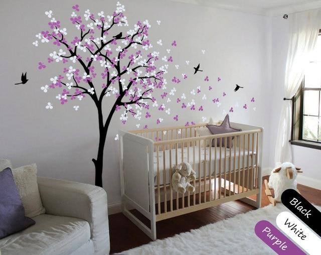 Kindergarten Kinder Schlafzimmer Wand Dekoration Baum Aufkleber Blüten Mit  Fliegen Vögel Home Decor Wandbild Vinyl Speziellen