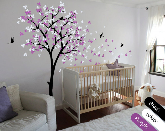 Nursery Children Bedroom Wall Decoration Tree Sticker Blossoms With Flying Birds Home Decor Mural Vinyl
