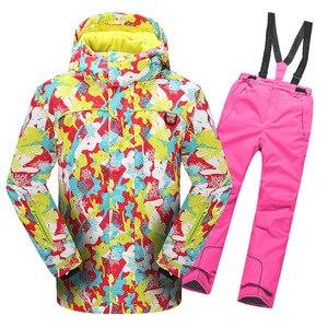 Image 5 - 2020 Winter Skipak Voor Meisjes Fleece Hooded Kids Sneeuw Sets Jas Overalls Winddicht Outdoor Sport Kinderkleding Sets