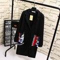 A0 Otoño Casual Mujeres Largo Trench Coat Plus Tamaño 3XL Ropa de Mujer Floja Scuba tejer tela Prendas De Vestir Exteriores
