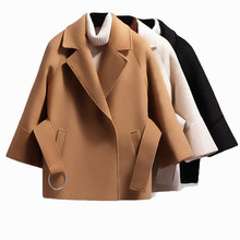 Autumn Winter Women Short Woolen Coat 2018 Belt Jacket Female Raglan Sleeves Cloak Jackets Elegant Single Button Black Camel New(China)
