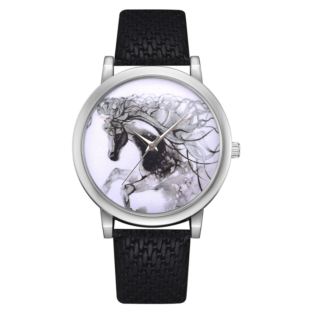 Fashion Womens Watch Girls Casual Leather Belt Analog Quartz Wrist Watches Horse Pattern Printing Female Clocks Montre Femme #A