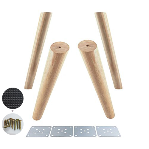 4pcs 30cm Height Wooden Furniture Feet Oblique Tapered Reliable Cabinets Legs Sofa Table Wood Feet With Screws And Mats As Gifts